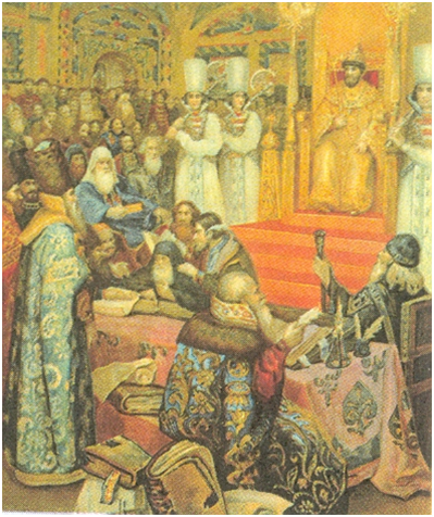 Заседание Земского собора 1649. Принятие Соборного уложения. Неизвестный художник.