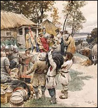 Князь Игорь собирает дань с древлян в 945г. Картина художника Лебедева К.В.