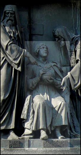 Изображение Михаила  Романова  на памятнике « Тысячелетие Руси». Новгород. Автор: М.О.Микешин, 1862г.