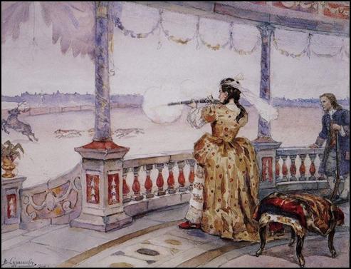 Василий Суриков. Императрица Анна Иоанновна в петергофском Тампле стреляет оленей. 1900 г.
