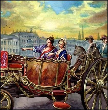 Автор неизвестен Анна Иоанновна и Анна Леопольдовна на прогулке.