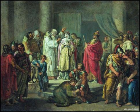 Крещение Ольги в Константинополе. Н.Акимов.