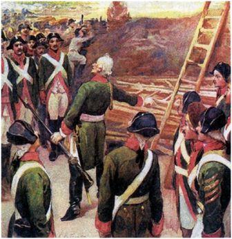 К.Лебежко. Суворов обучает солдат.