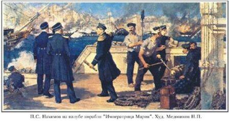 Н. П. Медовиков. П. С. Нахимов на палубе корабля «Императрица Мария»
