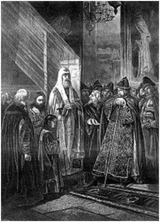 Митрополит Филипп отказывается благословить Ивана Грозного. Гравюра с картины Пукирева В.В., 1875
