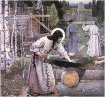 Нестеров М. В. «Труды Сергия Радонежского» (триптих, центральная часть)
