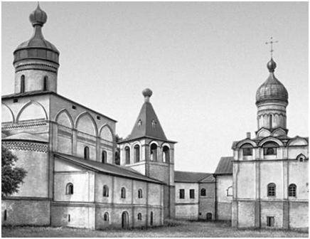 Ферапонтов монастырь. Слева направо: собор Рождества Богородицы (1490), колокольня (17 в.) и церковь Благовещения (1530—1534).
