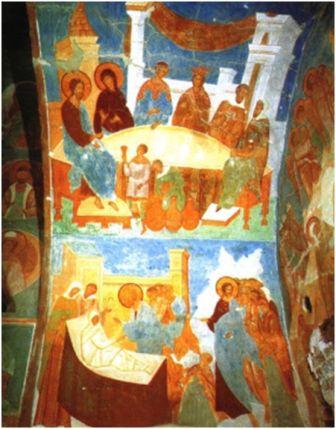 Евангельские сцены, роспись собора Рождества Богородицы Ферапонтова монастыря, 1495-1496.
