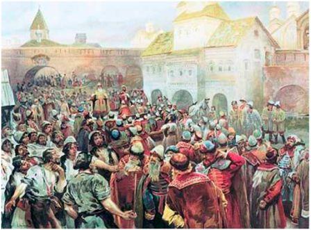 Новгородское вече.  Художник-передвижник  Лебедев К.В.( 1852-1916)