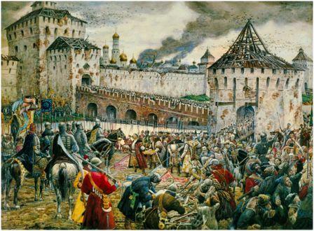 Изгнание поляков из Кремля в 1612 г.  Картина художника Э. Лисснера, 1907. Троице-Сергиева Лавра