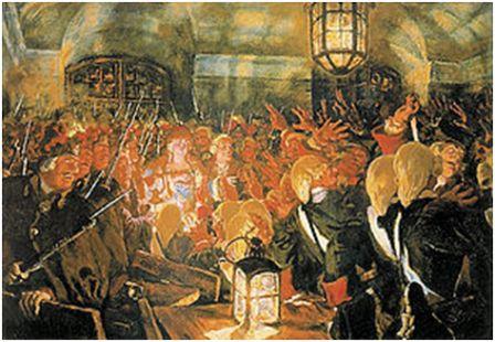 Преображенцы провозглашают императрицей Елизавету Петровну. Картина художника Е.Е.Лансере, 1905