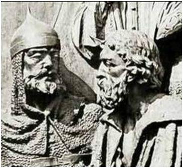 Даниил Галицкий (справа) с Мстиславом Удатным на памятнике «1000-летие России» в Великом Новгороде