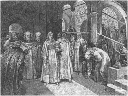 1526 г. Василий III, великий князь Московский, вводит во дворец невесту свою, Елену Глинскую. Картина Клавдия Лебедева( 1852-1916)