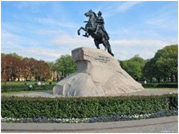 Памятник Петру I в Санкт-Петербурге. Скульптор Э.Фальконе, открыт в  1782.