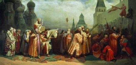 «Вербное воскресенье при царе Алексее Михайловиче».В.Г.Шварц, 1865 г.