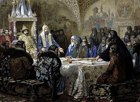 Церковный собор 1654 г. Начало раскола. Картина художника А.Д.Кившенко, 1880 г.