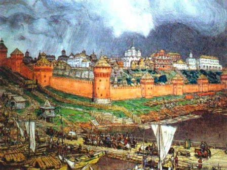 Московский Кремль периода правления Ивана III. Картина художника А.М.Васнецова